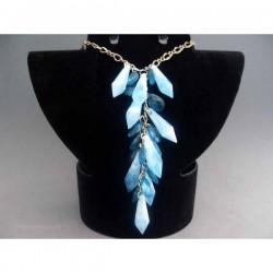Colier bijuterie metalic cu pietre si cristale turquoise