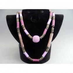 Colier bijuterie cu metal, sticla si margele violet