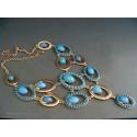 Colier bijuterie guler paun cu pietre bleu