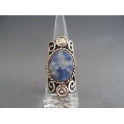 Inel bijuterie cu piatra ovala albastra