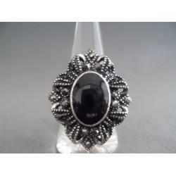 Inel bijuterie cu piatra neagra si marcasite