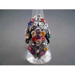 Inel bijuterie fantezie etajat cu cristale multicolore