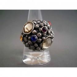 Inel bijuterie fantezie cu cristale rotunde