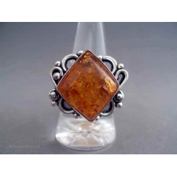 Inel bijuterie cu piatra romb caramizie