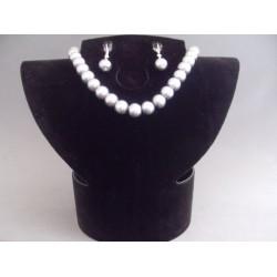 Set bijuterii cu perlute gri