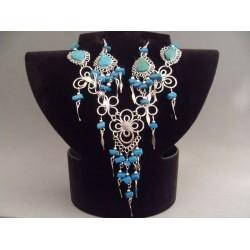 Set bijuterii peruvian cu pietre turquoise