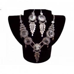 Set bijuterii peruvian cu pietre sticla murano alb-transparenta