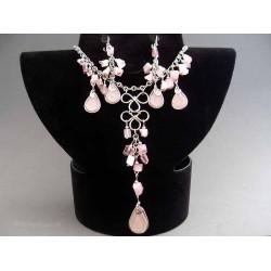 Set bijuterii incas cu pietre si sticla murano roz